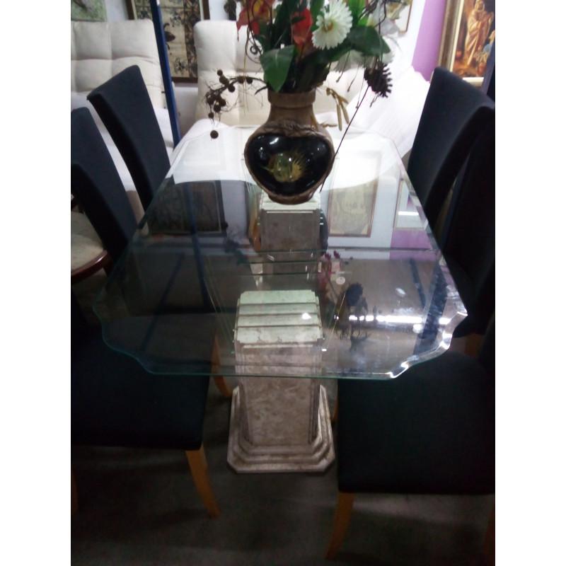 Mesa de Vidro com pé de Marmore e 6 Cadeiras