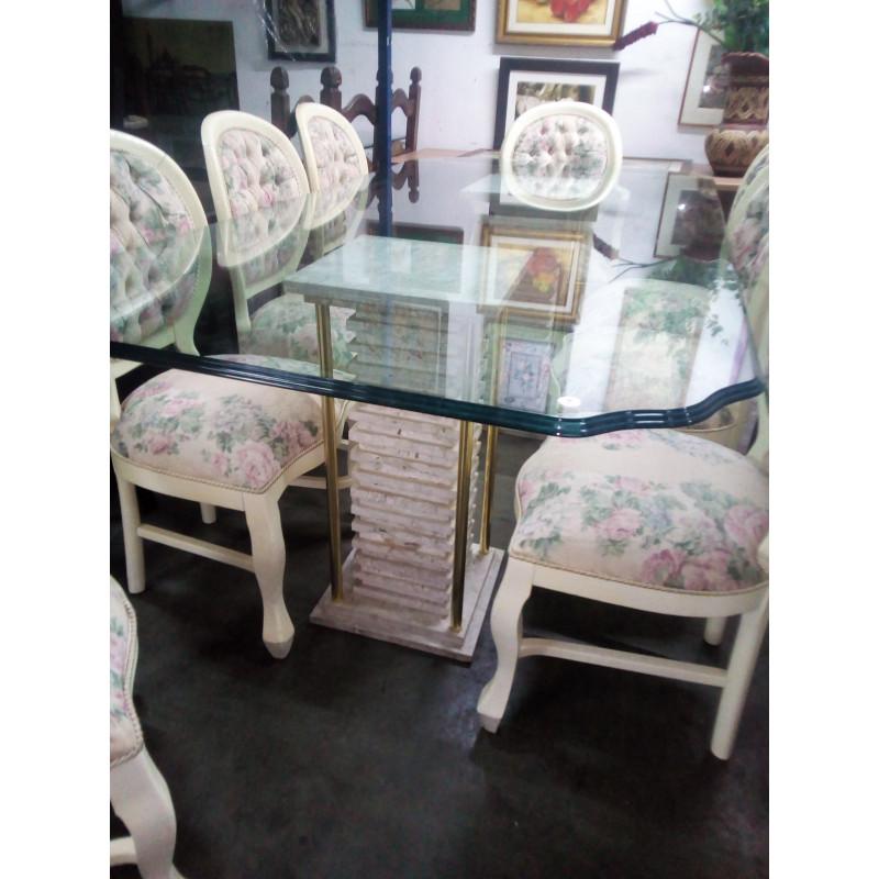 Mesa comTampo de Vidro 8 cadeiras medalhão